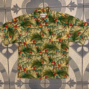 Vintage Coastal Living Parrot Hawaiian Shirt Sz L